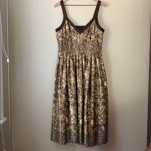 Bronze and brown satiny dress